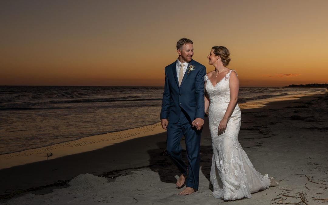 Couples on Fripp Island beach at sunset
