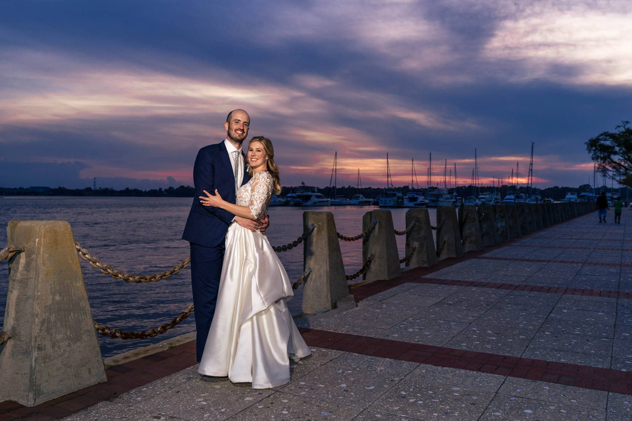 Beaufort Wedding, Bride and Groom, Waterfront Park, Sunset