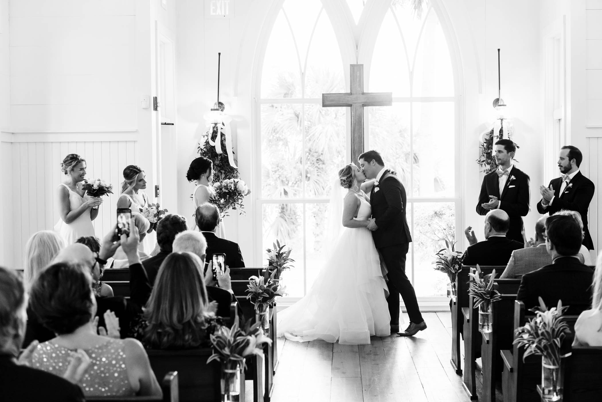 First Kiss, May River Chapel, Palmetto Bluff