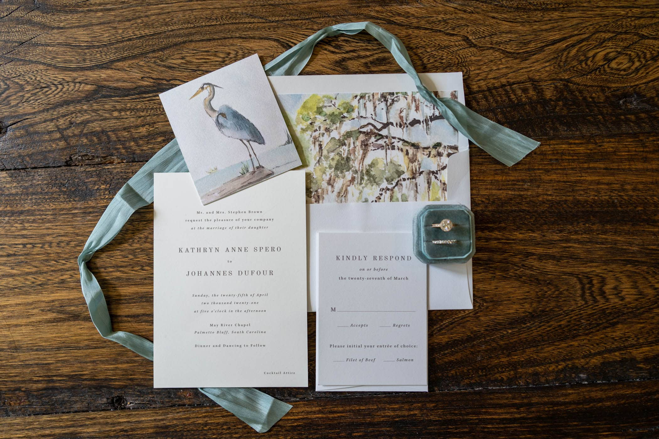 Lowcounty Wedding stationary suite for palmetto bluff may river chapel wedding by wedding photographer Susan DeLoach Photography