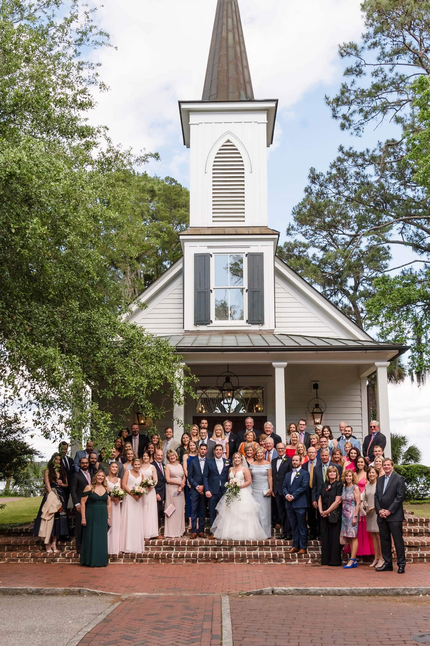 Bride, Groom and Guests, May River Chapel, Palmetto Bluff