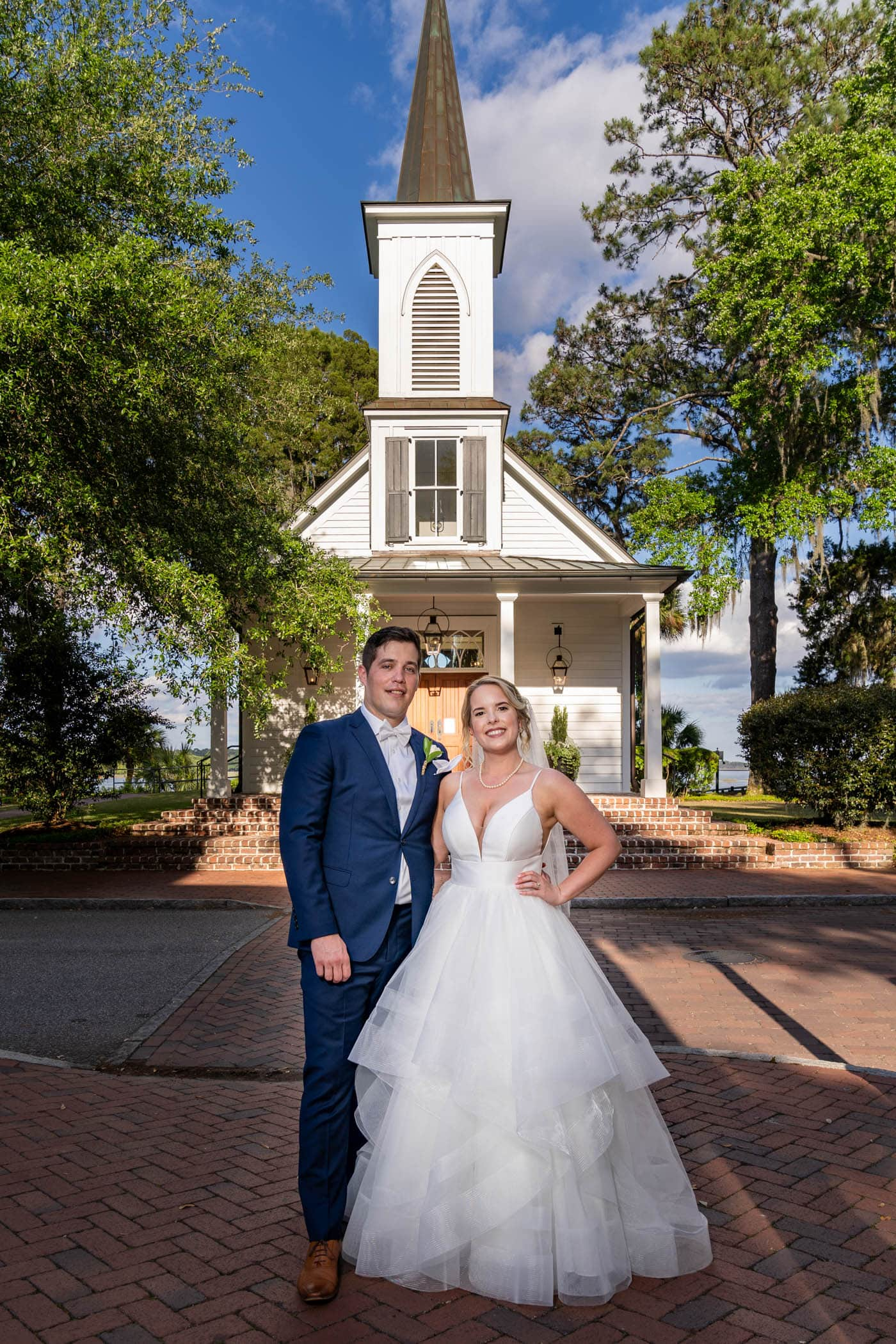 Bride and Groom in front of the May River Chapel on Palmetto Bluff