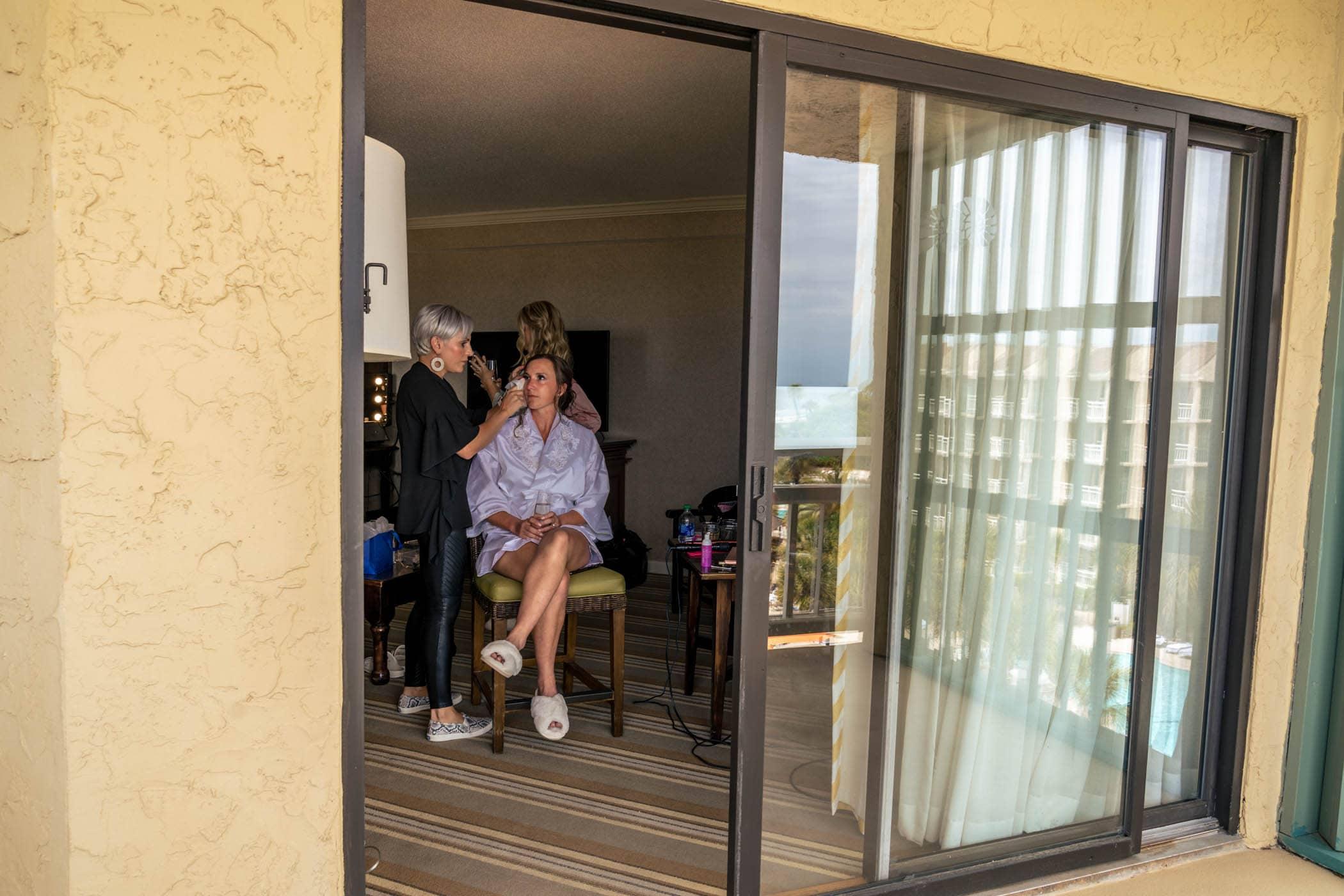 Bride getting ready at Omni Hilton Head Ocean Resort