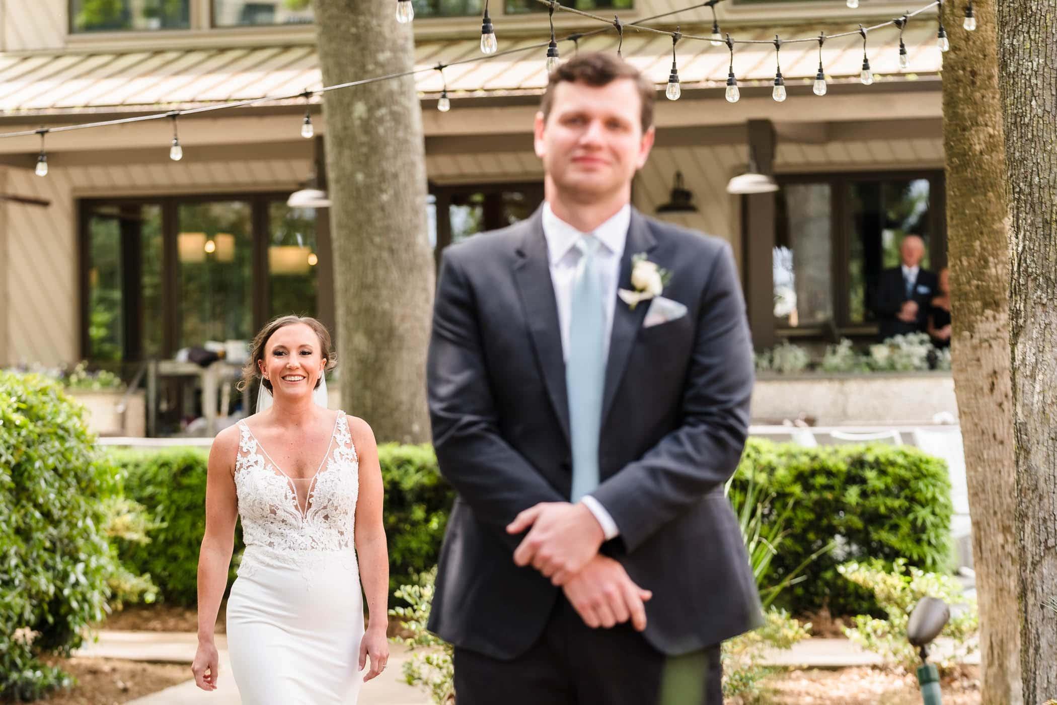 Bride and Groom First Look Hilton Head Wedding