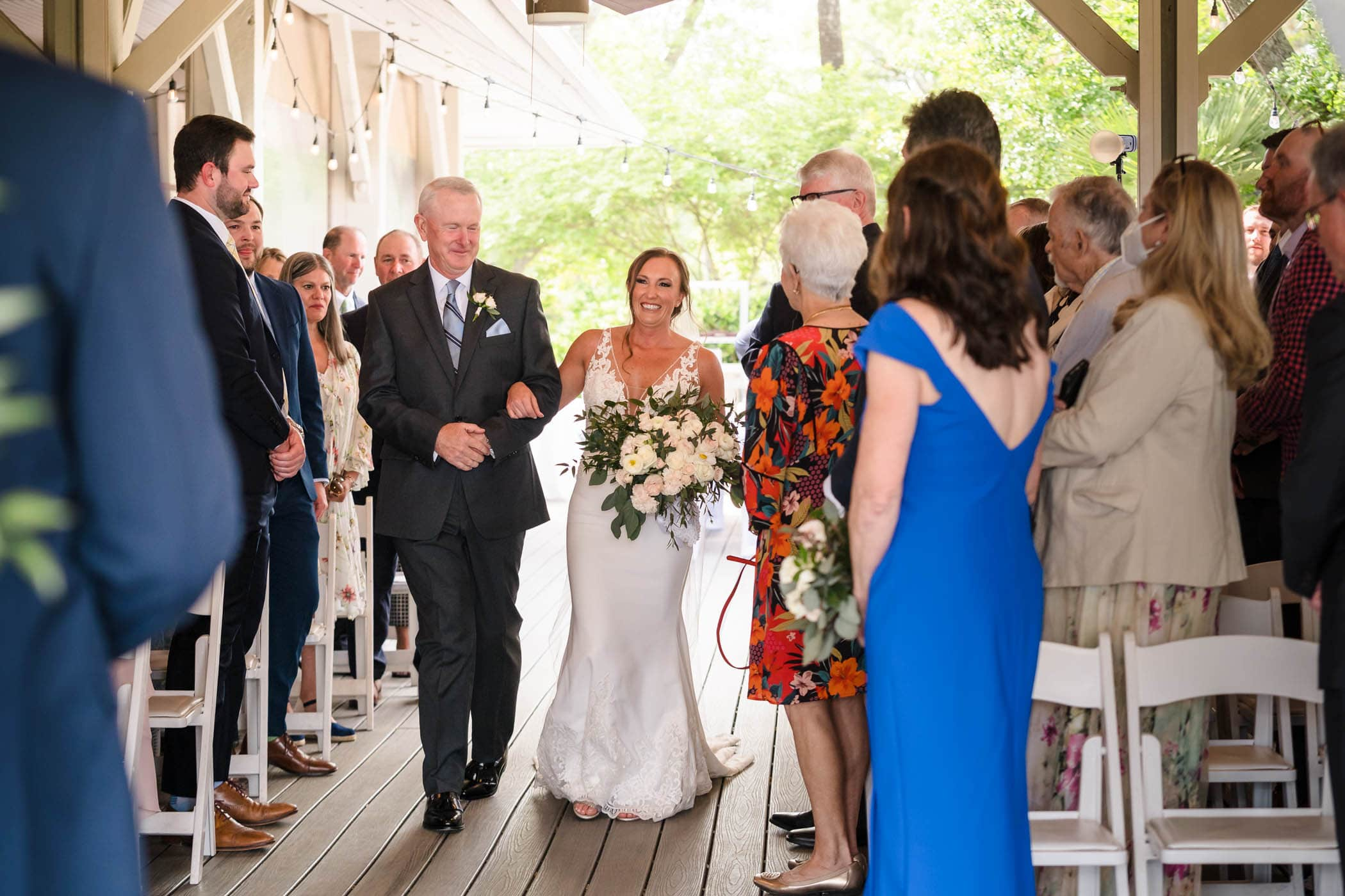 Bride and father at wedding ceremony Omni Hilton Head Shorehouse Oceanfront Deck