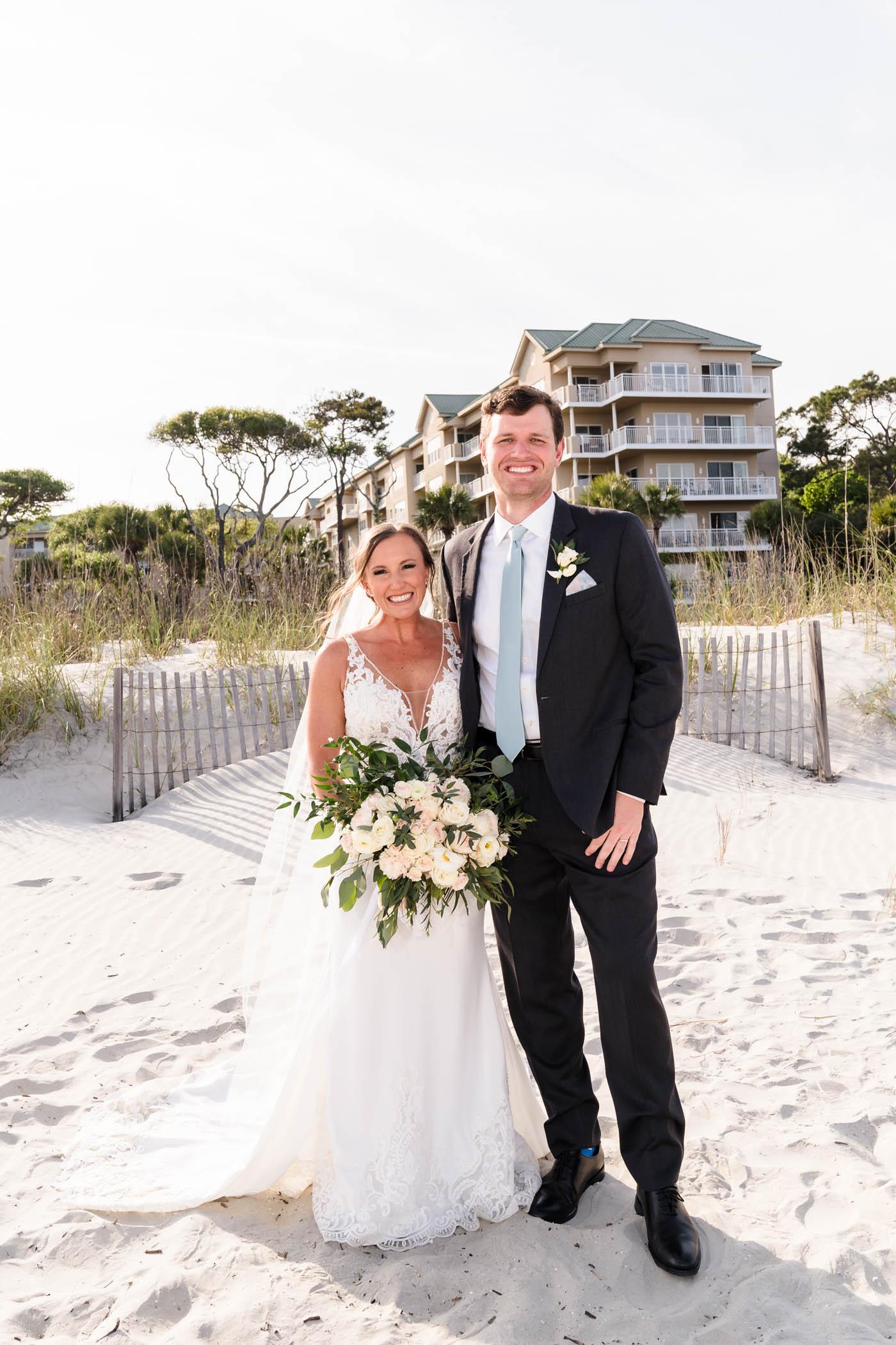 Bride and Groom Beach Portrait Omni Hilton Head Ocean Resort