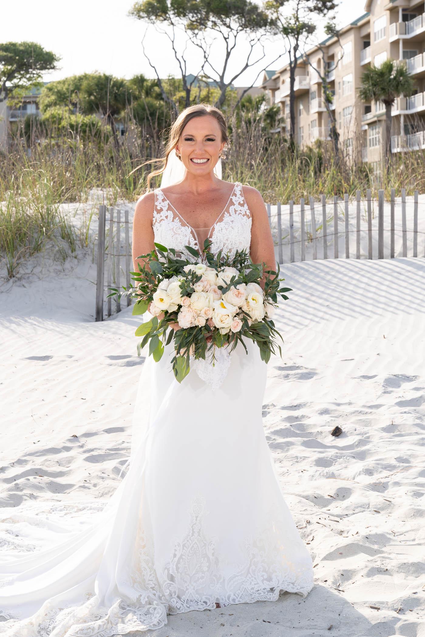 Bride on beach - Omni Hilton Head Ocean Resort