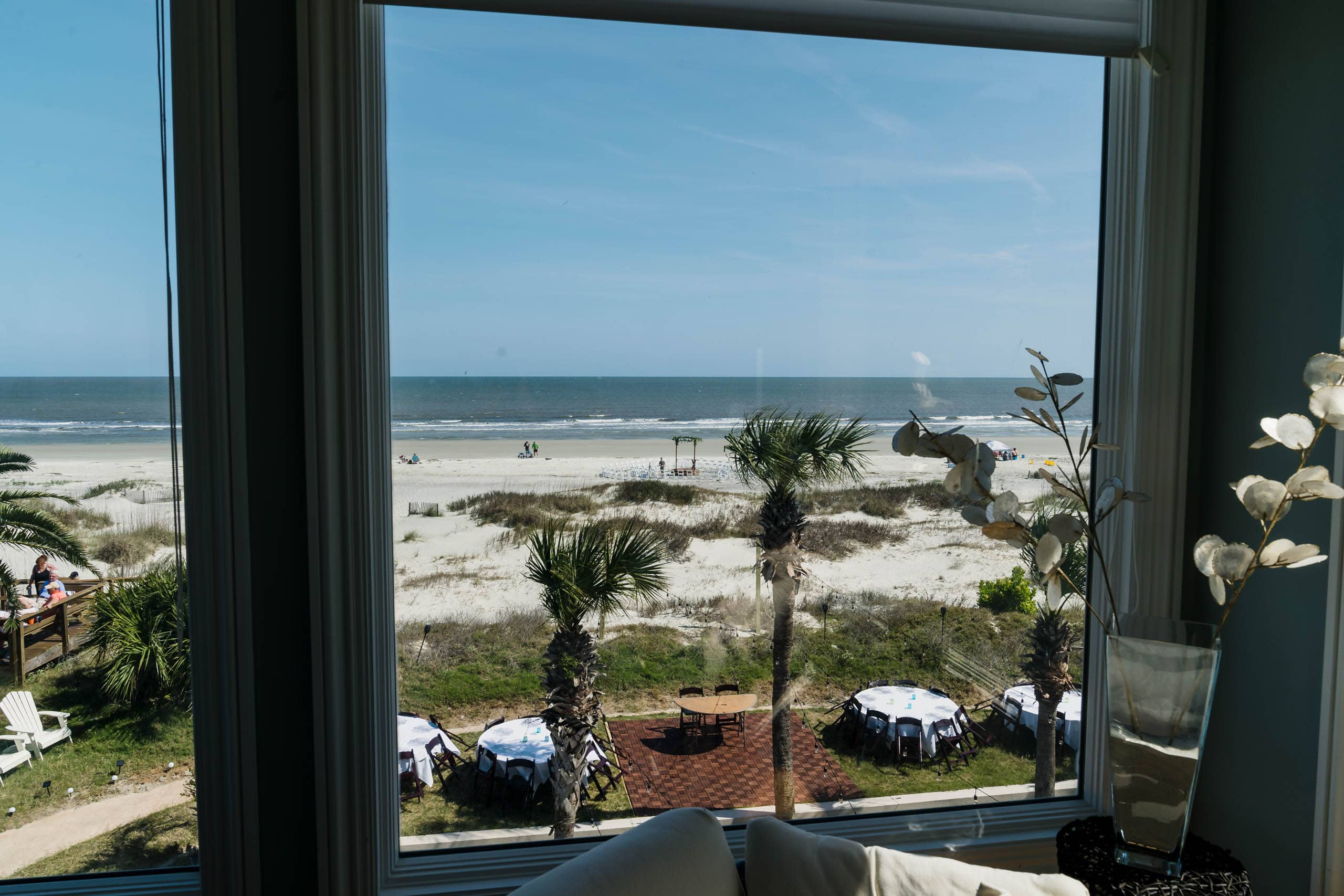 View of Fripp Island beach wedding ceremony site from rental home by Susan DeLoach photography sc wedding photographer