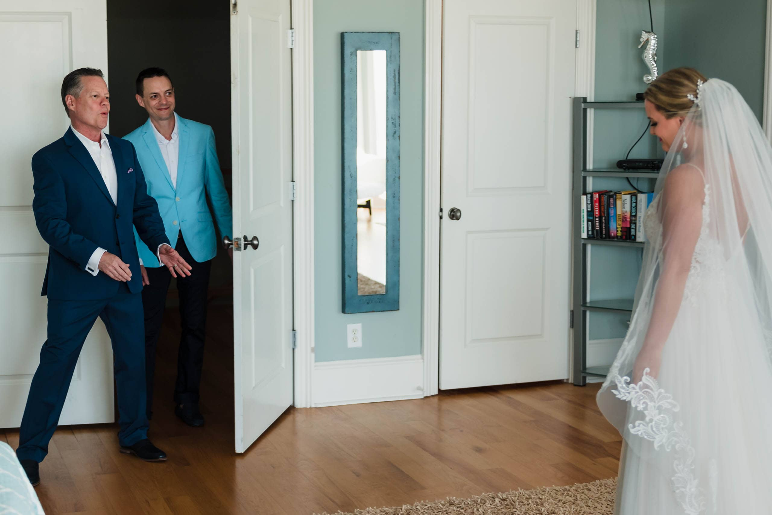 First look with Bride, Father and Brother in beach house on Fripp Island by Susan DeLoach Photography, SC wedding Photographer