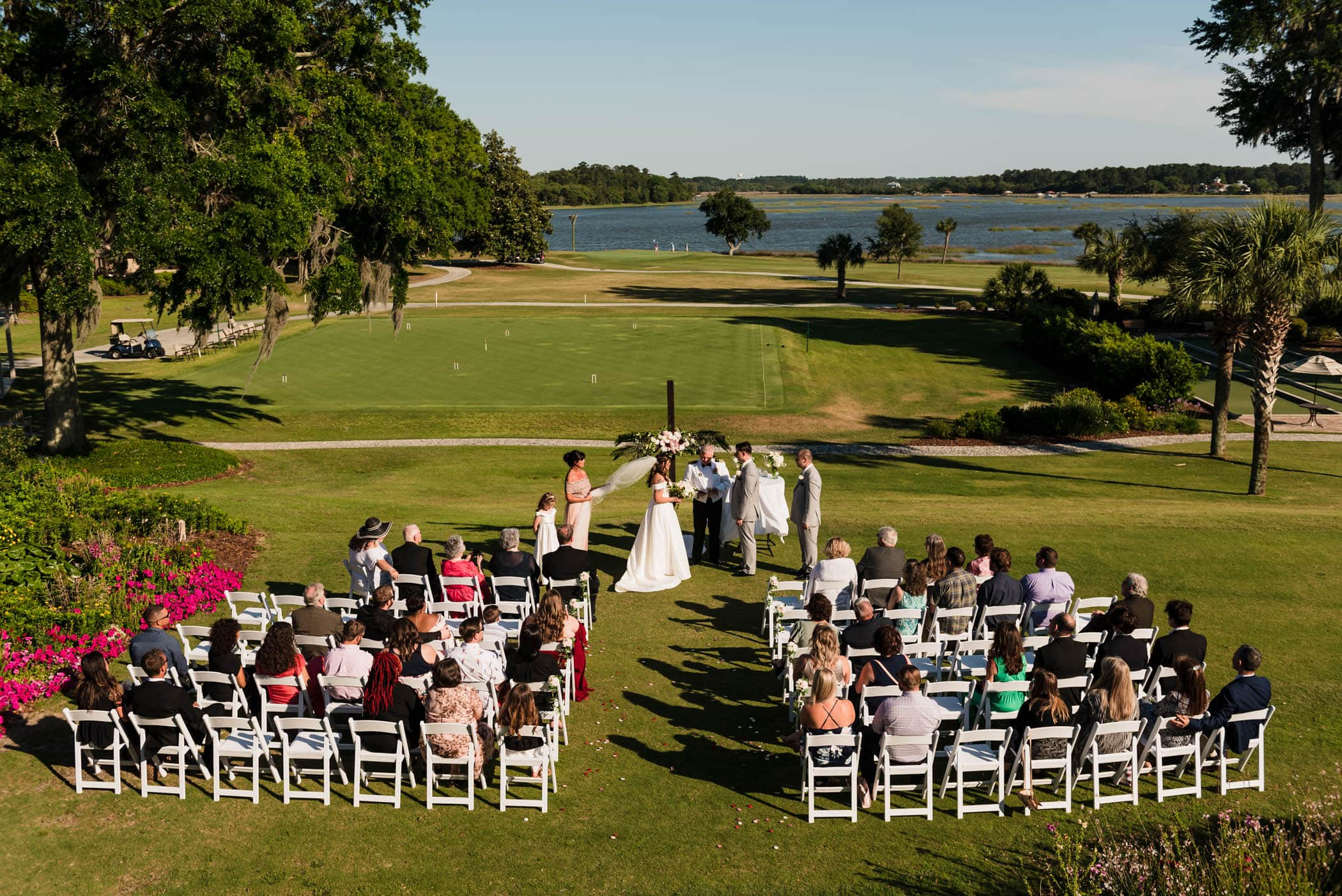 Ceremony site from above on Dataw Island Club House by Susan DeLoach Photography SC wedding photographers