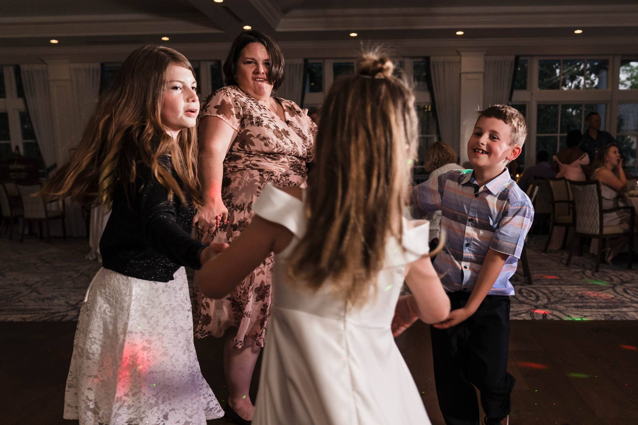 Kids and adult on the dance floor Dataw Island Club House by Susan DeLoach Photography SC wedding photographers