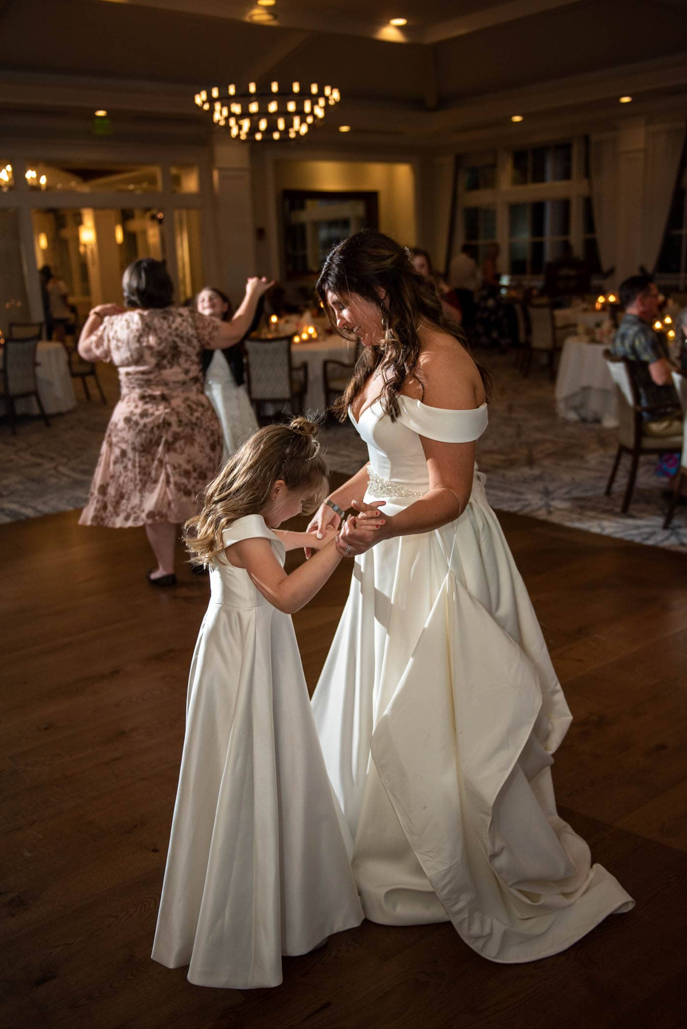 Bride and daughter on the dance floor at Dataw Island Club House by Susan DeLoach Photography SC wedding photographers