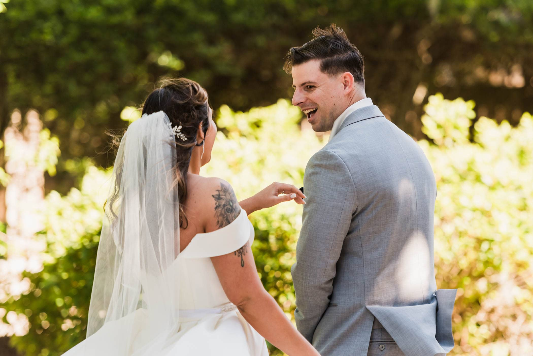 Groom seeing bride at first look by Susan DeLoach Photography SC wedding photographers