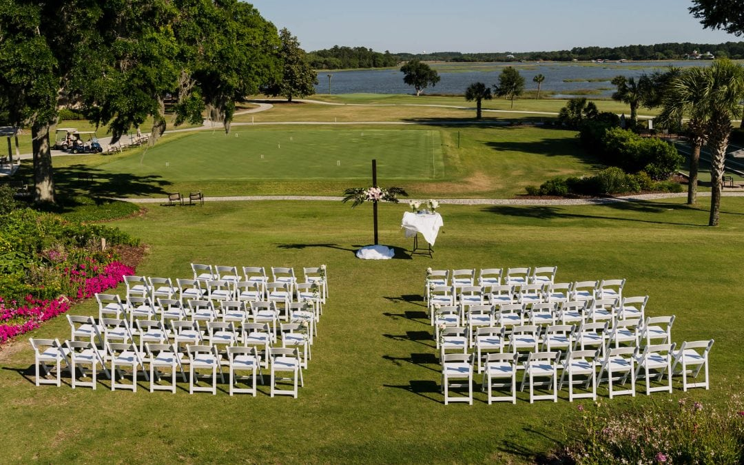 Ceremony site on the lawn behind Dataw Island Club House by Susan DeLoach Photography SC wedding photographers